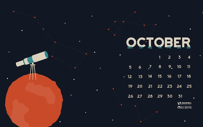 October 2015 calendar desktop themes wallpaper Views:8070