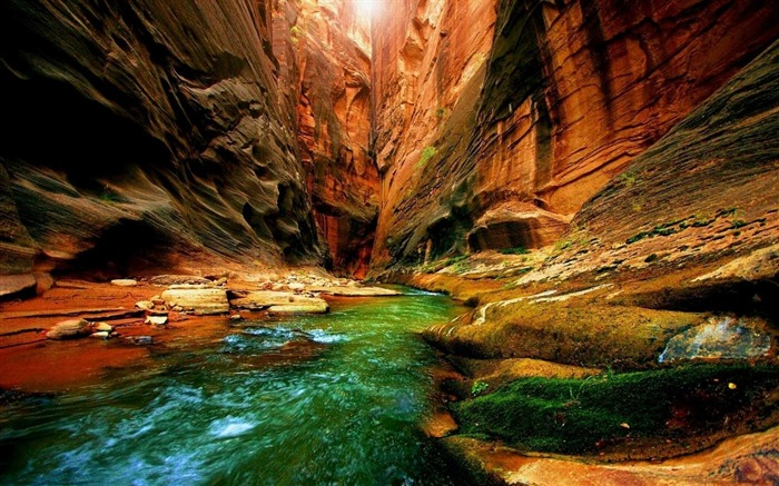canyon gorge river moss greens-Photography HD wallpaper Views:2085