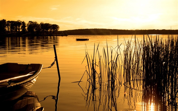 golden lake sunset-scenery HD Wallpaper Views:2089