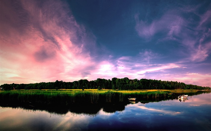lake sunset-scenery HD Wallpaper Views:2716