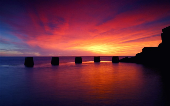 purple sunset sea-scenery HD Wallpaper Views:2460
