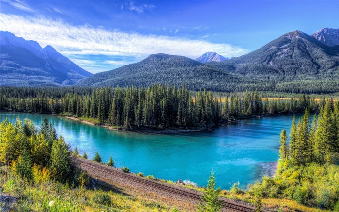 Forest azure river rail road-Travel HD Wallpaper Views:1843