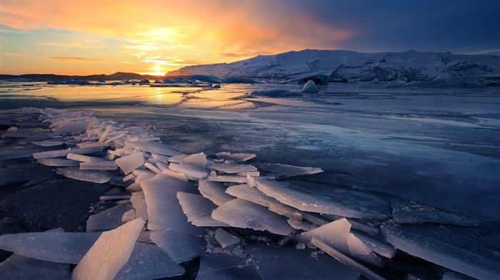 Glacier Sunsets River-scenery HD Wallpaper Views:1184