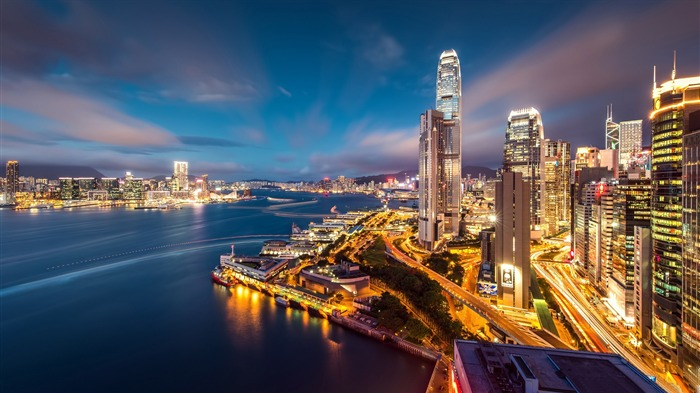 Hong kong harbour night-Cities HD Wallpaper Views:1660