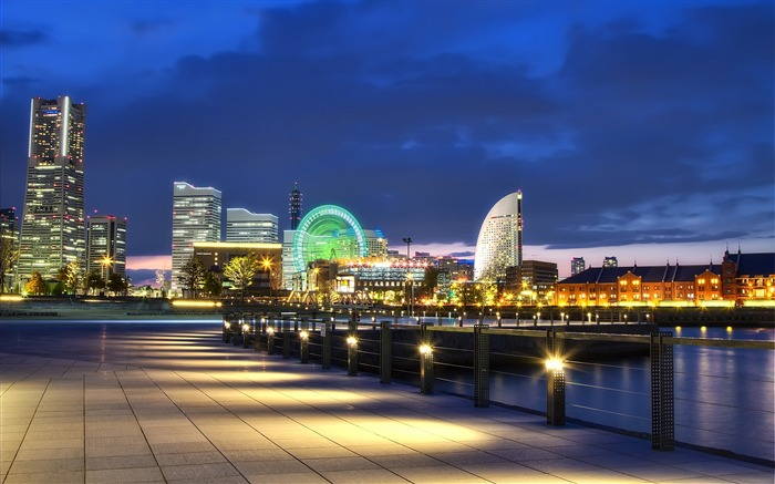 Japan yokohama port night-Cities HD Wallpaper Views:3771