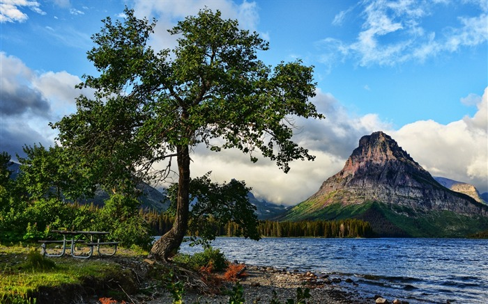 Lake peaks trees-Travel HD Wallpaper Views:1955