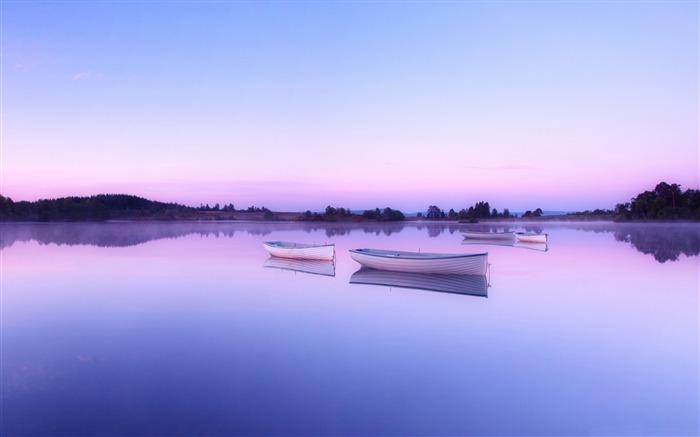 Lakes boats sunset HD Widescreen Wallpaper medium