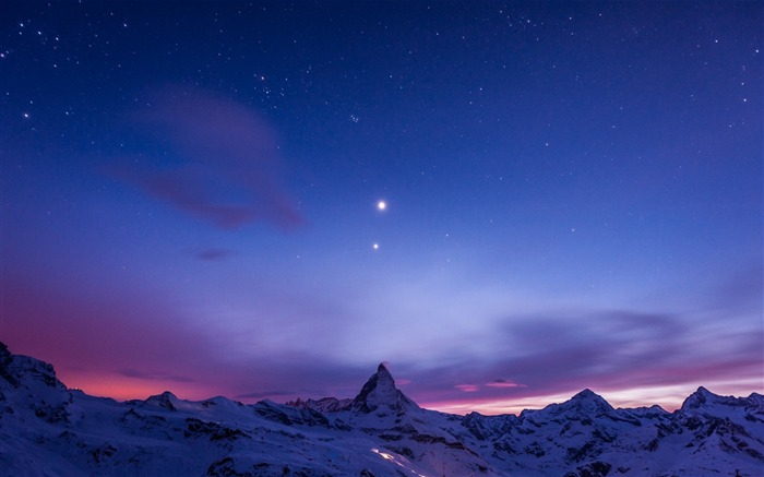 Mountains snow sky stars-scenery HD Wallpaper Views:2392