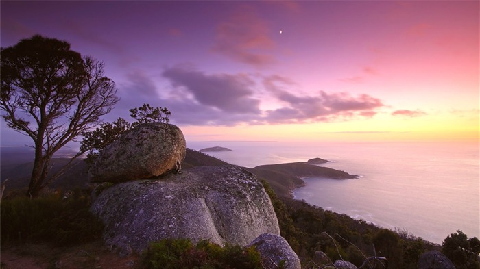 Ocean hill purple sky-Travel HD Wallpaper Views:1779
