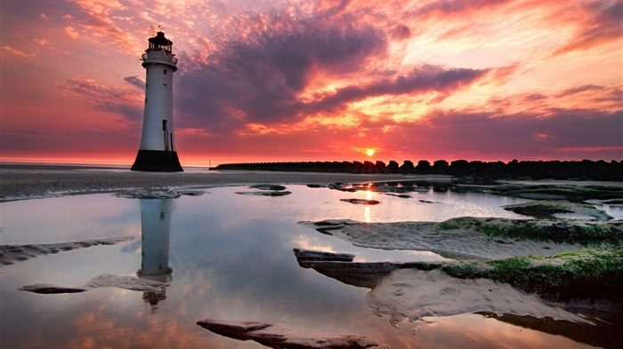 Ocean light house purple sky-Travel HD Wallpaper Views:1812