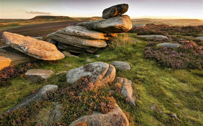 Rocks heather grass sky-Travel HD Wallpaper Views:2148