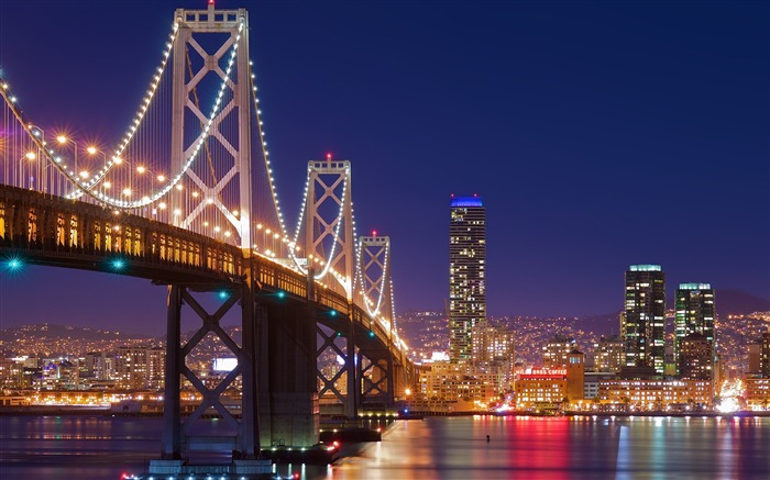 San francisco night bridge-Cities HD Wallpaper Views:2077