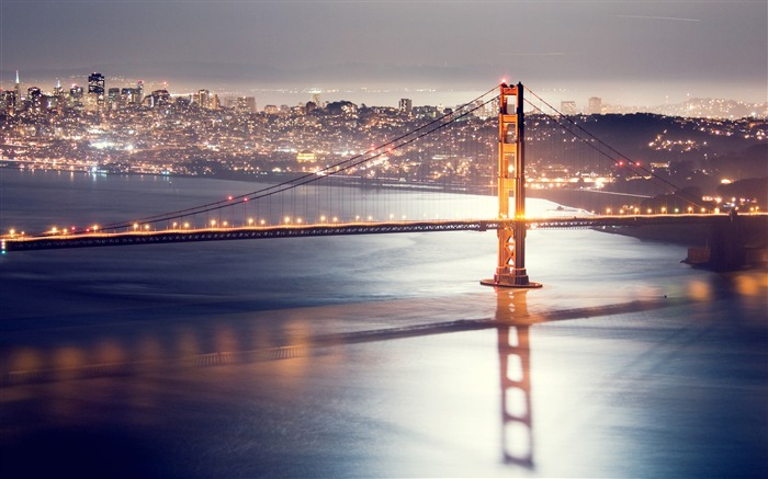 San francisco night bridge HDR-Cities HD Wallpaper Views:1864