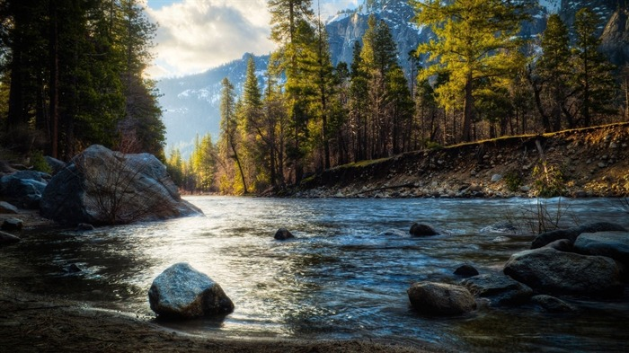 rocky river shore forest-HD Wide Wallpaper Views:1719