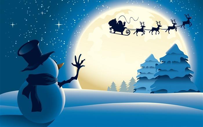 クリスマスに手を振る雪だるま