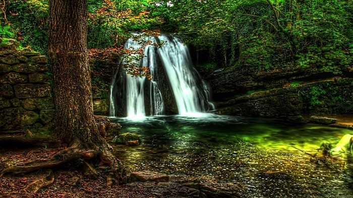 Spring Waterfall Forest HDR-Nature HD Wallpaper Views:1348