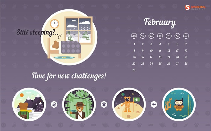 Time To Get Up-February 2016 Calendar Wallpaper Views:2534 Date:1/31/2016 8:10:48 PM