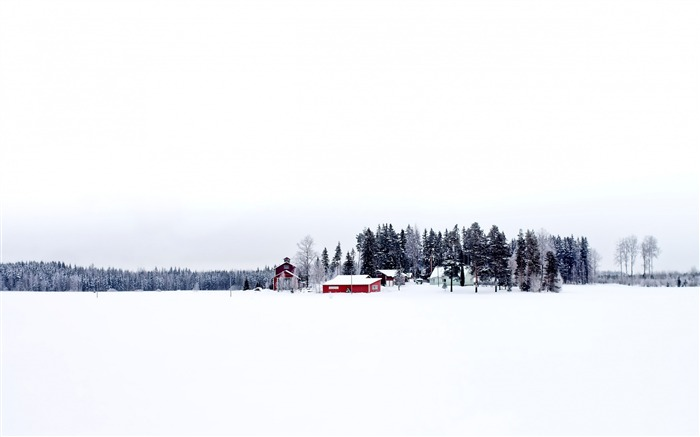 Winter Finland Snowy Rural red house-Landscapes HD Wallpaper Views:4771 Date:1/21/2016 6:02:23 AM