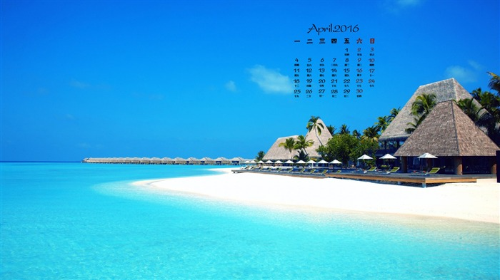 Beach Holiday Villas-April 2016 Calendar Wallpaper Views:1493