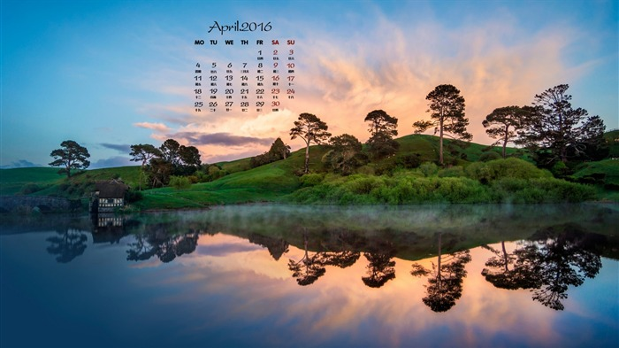 Beautiful natural scenery reflection-April 2016 Calendar Wallpaper Views:1636