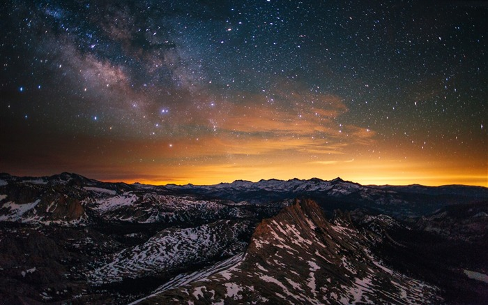 Yosemite forest stars sunset-Nature Photo HD Wallpaper Views:1417