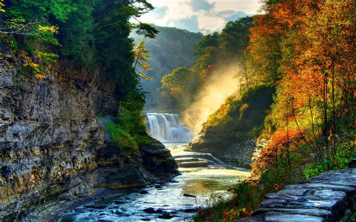 Autumn forest trees waterfall river-Nature HD Wallpapers Views:7999 Date:4/14/2016 9:37:47 AM