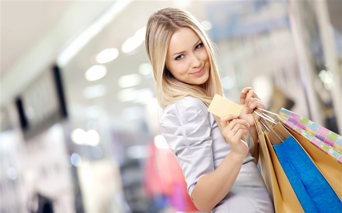 Blonde blouse girl shopping joy smile-Beauty Photo HD Wallpaper Views:1774