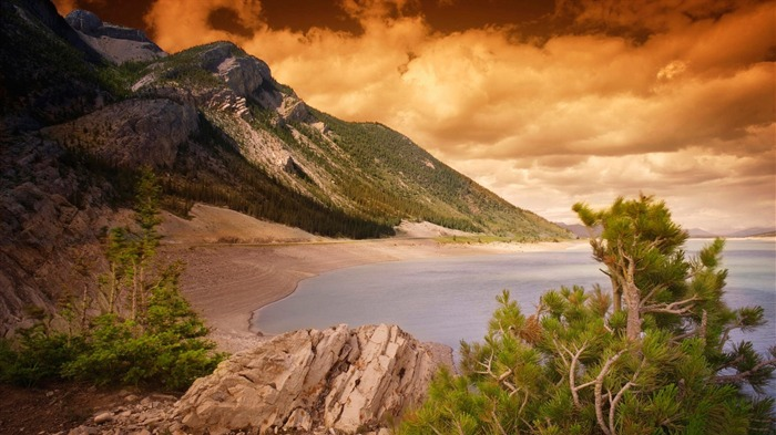 Forest Mountains Clouds Ocean-HDR Photo HD Wallpaper Views:1533