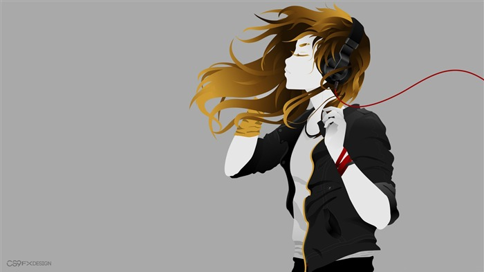 Girl with headphone-Vector Art Design HD Wallpaper Views:1577