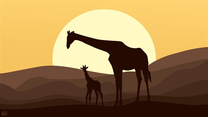 Mother and baby giraffe african-Vector Art Design HD Wallpaper Views:1475