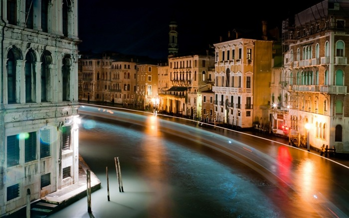 City river night view-Venice Italy Travel HD wallpaper Views:2406