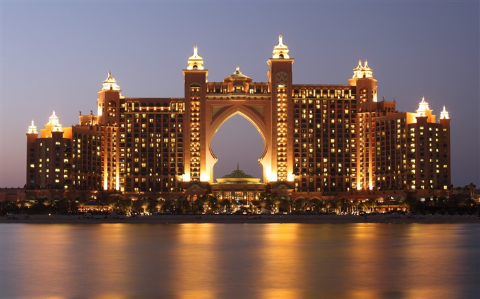 Dubai Atlantis Hotel Night Ocean-Cities Photo HD Wallpaper Views:1945
