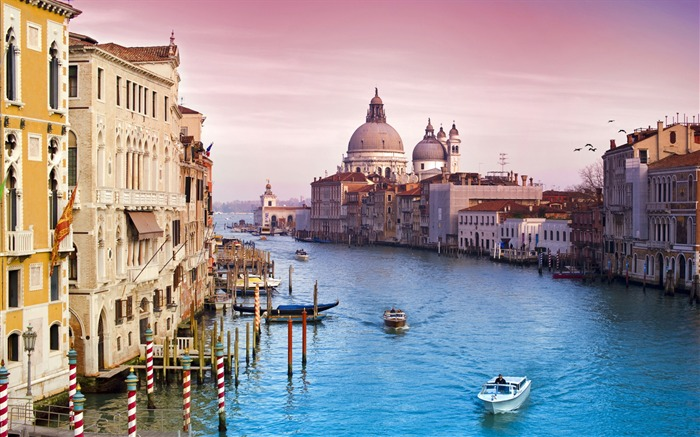 Europe sunset river-Venice Italy Travel HD wallpaper Views:2236