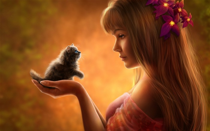 Girl and kitten anime-Widescreen High Quality Wallpaper Views:2481