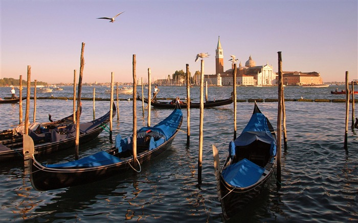 Gondolas boat pier-Venice Italy Travel HD wallpaper Views:2598
