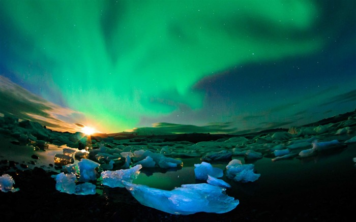 Iceland northern lights sky-Nature Scenery HD Wallpaper Views:1888