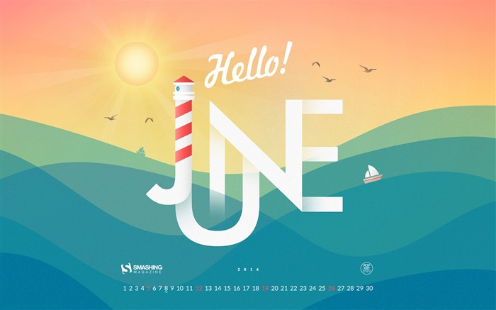 June 2016 Calendar Desktop Themes Wallpaper Views:11859