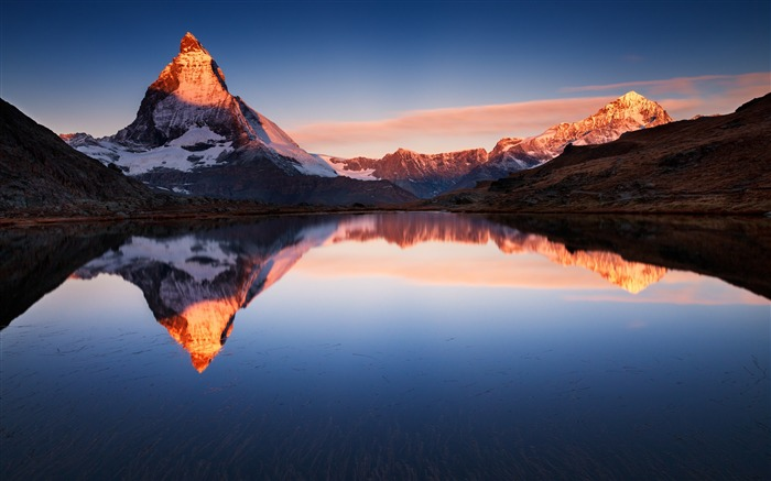 Lake snow mountain reflections sunset-Nature Scenery HD Wallpaper Views:1810