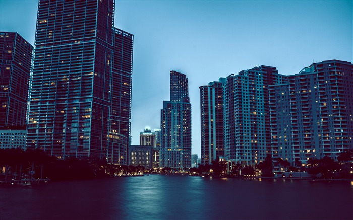 Miami night cityscapes-Cities Photo HD Wallpaper Views:1371