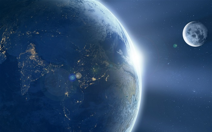 Moon orbiting earth-Widescreen High Quality Wallpaper Views:2088