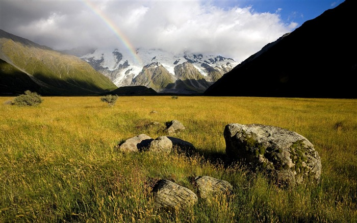 Mountain Rainbow Grassland-Nature Scenery HD Wallpaper Views:1502