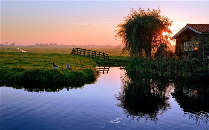 Pond house sunset village-Nature Scenery HD Wallpaper Views:2235