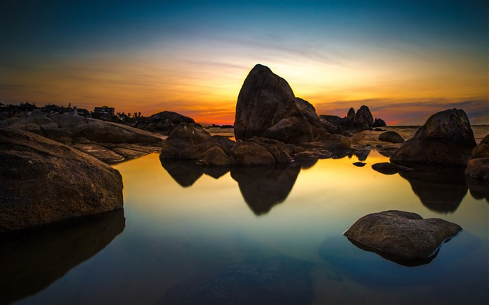 Sea stones sunset reflection-Nature Scenery HD Wallpaper Views:2385