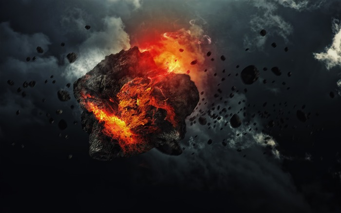 Asteroid Explosion-Universe Digital HD Wallpaper Views:1246