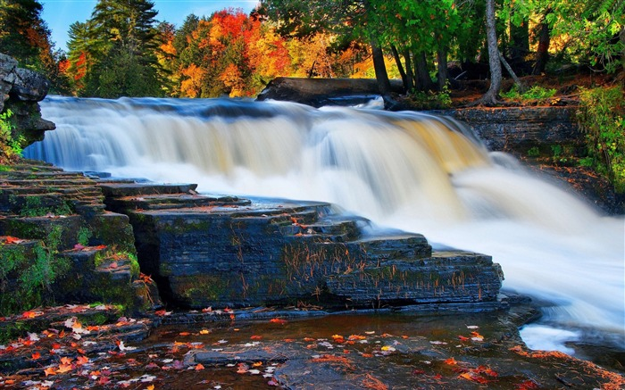 Forest river waterfall autumn-nature HD photo wallpaper Views:7488