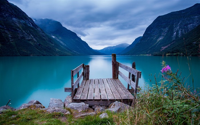 Norway bridge lake blue sky-nature HD photo wallpaper Views:2598