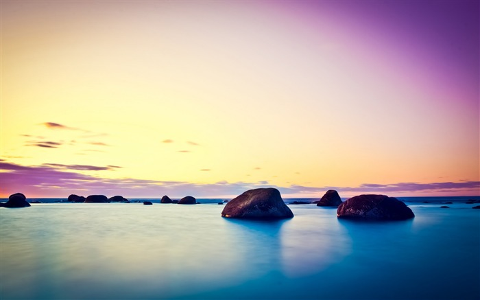 Ocean sunrise stone sky-nature HD photo wallpaper Views:2571