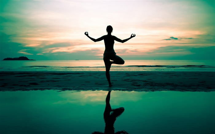 Yoga silhouette beautiful waterside-2016 Sport HD Wallpaper Views:4024
