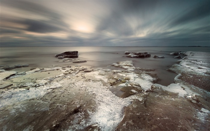 Ice coast stones sky clouds gray-Scenery High Quality Wallpaper Views:1400