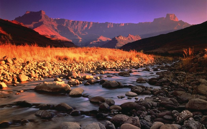 Morning sun stones river mountains-Landscape Theme Wallpaper Views:1195